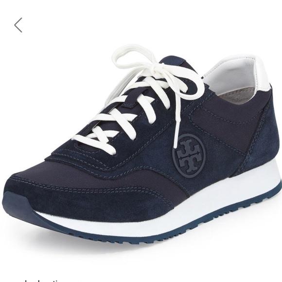 21828c2fcd0 Tory Burch Navy Blue Suede Trainer Sneakers. M 5b70c4dfe9ec89d7af12a9a6